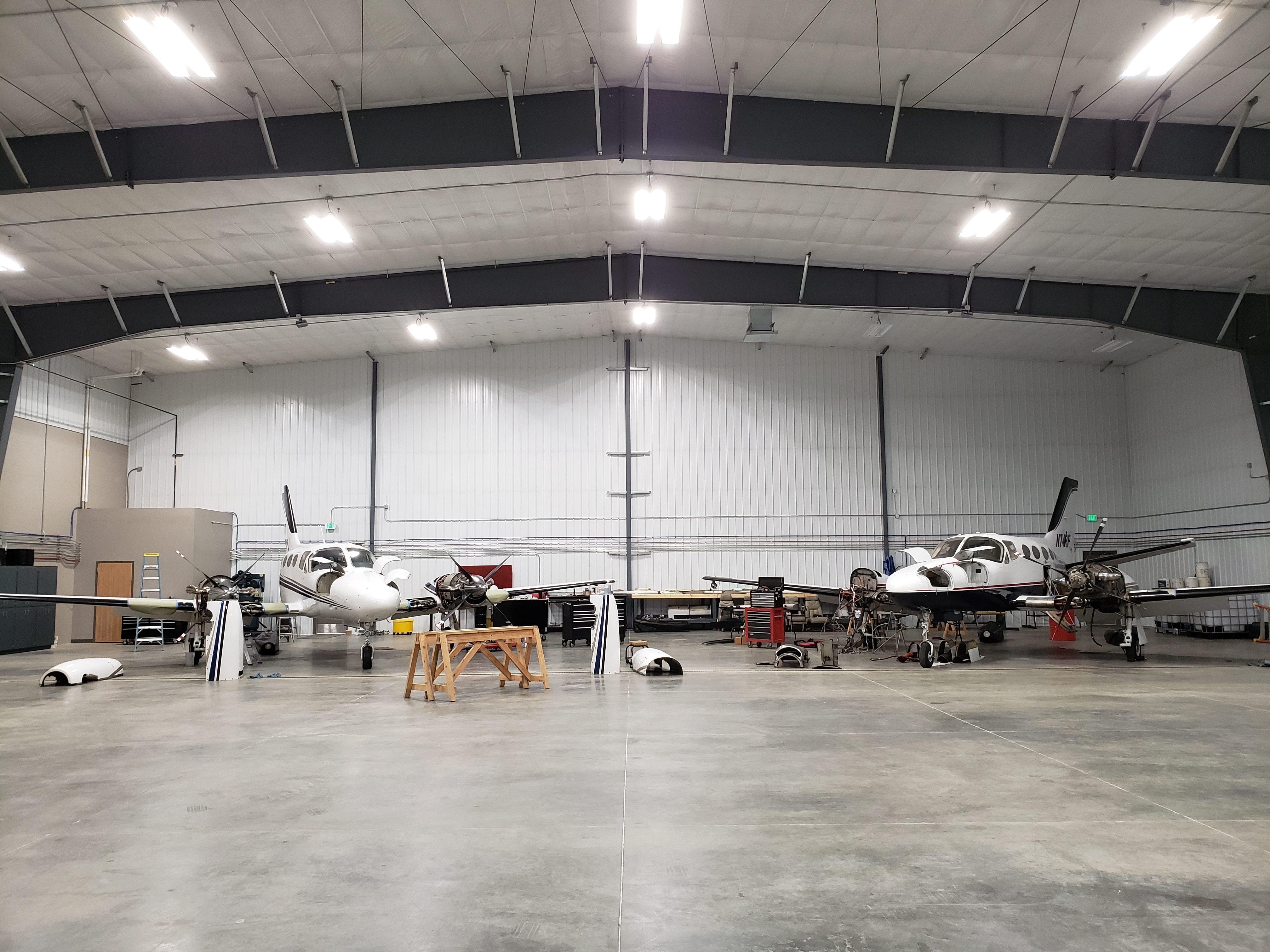 engines under maintenance in hangar
